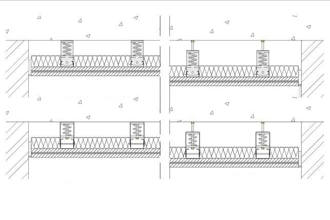 isolamento acustico soffitto con Sospensioni elastiche MF305