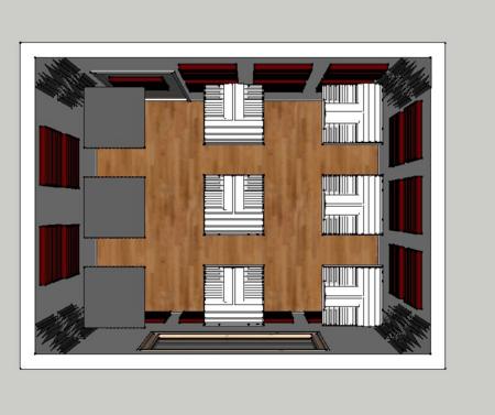 Esempio di trattamento acustico per una sala prove e registrazione 12m² realizzato con un Kit Roominator Deluxe Plus
