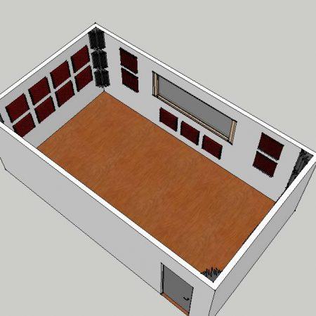 Esempio di trattamento acustico per una sala prove e registrazione 28m² realizzato con un Kit Roominator Pro Plus