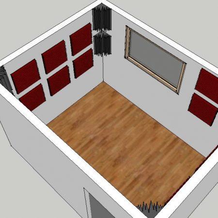 Esempio di trattamento acustico per una sala prove e registrazione 12m² realizzato con un Kit Roominator Project 2